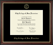 City College of San Francisco Diploma Frame - Gold Embossed Diploma Frame in Studio Gold