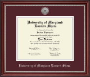 University of Maryland Eastern Shore Diploma Frame - Silver Engraved Medallion Diploma Frame in Kensington Silver