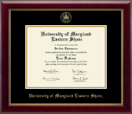 University of Maryland Eastern Shore Diploma Frame - Gold Embossed Diploma Frame in Gallery