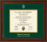 Tulane University School of Medicine Diploma Frame - Presidential Masterpiece Diploma Frame in Madison