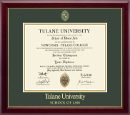 Tulane University Diploma Frame - Gold Embossed Diploma Frame in Gallery