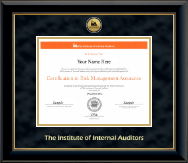 The Institute of Internal Auditors Certificate Frame - Gold Engraved Medallion Certificate Frame in Onyx Gold