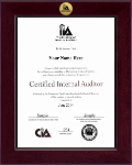 The Institute of Internal Auditors Certificate Frame - Century Gold Engraved Certificate Frame in Cordova