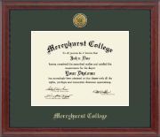 Mercyhurst College Erie Diploma Frame - Gold Engraved Medallion Diploma Frame in Signature