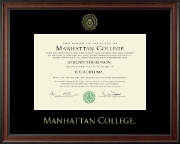 Manhattan College Diploma Frame - Gold Embossed Diploma Frame in Studio