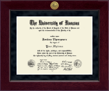 The University of Kansas Diploma Frame - Millennium Gold Engraved Diploma Frame in Cordova