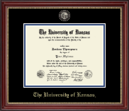 The University of Kansas Diploma Frame - Black Enamel Masterpiece Medallion Diploma Frame in Kensington Gold