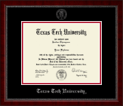 Texas Tech University Diploma Frame - Silver Embossed Diploma Frame in Sutton