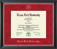 Texas Tech University Diploma Frame - Gold Embossed Diploma Frame in Noir