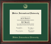 Webber International University Diploma Frame - Gold Embossed Diploma Frame in Studio Gold