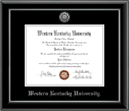 Western Kentucky University Diploma Frame - Silver Engraved Medallion Diploma Frame in Onyx Silver
