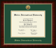 Webber International University Diploma Frame - Gold Engraved Medallion Diploma Frame in Murano
