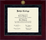 Bethel College Indiana Diploma Frame - Millennium Gold Engraved Diploma Frame in Cordova