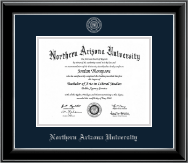 Northern Arizona University Diploma Frame - Silver Embossed Diploma Frame in Onyx Silver