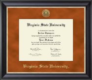 Virginia State University Diploma Frame - Gold Engraved Medallion Diploma Frame in Noir