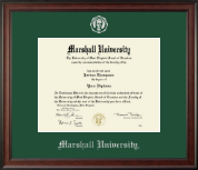 Marshall University Diploma Frame - Silver Embossed Diploma Frame in Studio