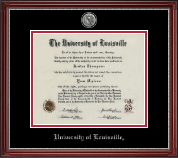 University of Louisville Diploma Frame - Silver Engraved Medallion Diploma Frame in Kensington Silver