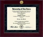 University of New Haven Diploma Frame - Millennium Gold Engraved Diploma Frame in Cordova