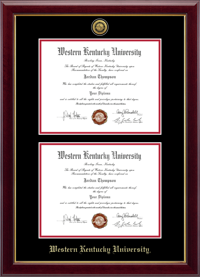 western kentucky university gold engraved double diploma frame in gallery item 244506