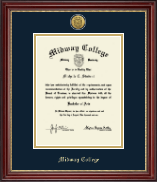 Midway College Diploma Frame - Gold Engraved Medallion Diploma Frame in Kensington Gold