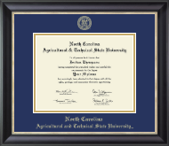North Carolina A&T State University Diploma Frame - Gold Embossed Diploma Frame in Noir