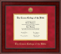 The Crown College of the Bible Diploma Frame - Presidential Gold Engraved Diploma Frame in Jefferson