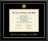 The Crown College of the Bible Diploma Frame - Gold Engraved Medallion Diploma Frame in Onyx Gold