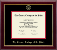 The Crown College of the Bible Diploma Frame - Gold Embossed Diploma Frame in Gallery