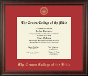 The Crown College of the Bible Diploma Frame - Gold Embossed Diploma Frame in Studio