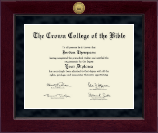 The Crown College of the Bible Diploma Frame - Millennium Gold Engraved Diploma Frame in Cordova