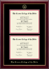 The Crown College of the Bible Diploma Frame - Double Document Diploma Frame in Gallery