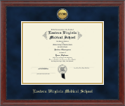 Eastern Virginia Medical School Diploma Frame - Gold Engraved Medallion Diploma Frame in Signature