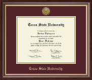 Texas State University Diploma Frame - Gold Engraved Medallion Diploma Frame in Hampshire