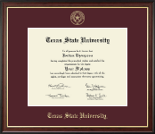 Texas State University Diploma Frame - Gold Embossed Diploma Frame in Studio Gold