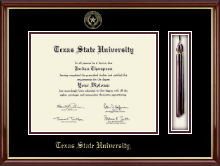 Texas State University Diploma Frame - Tassel Edition Diploma Frame in Southport Gold