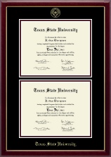 Texas State University Diploma Frame - Double Document Diploma Frame in Gallery
