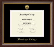Brooklyn College Diploma Frame - Gold Engraved Medallion Diploma Frame in Hampshire