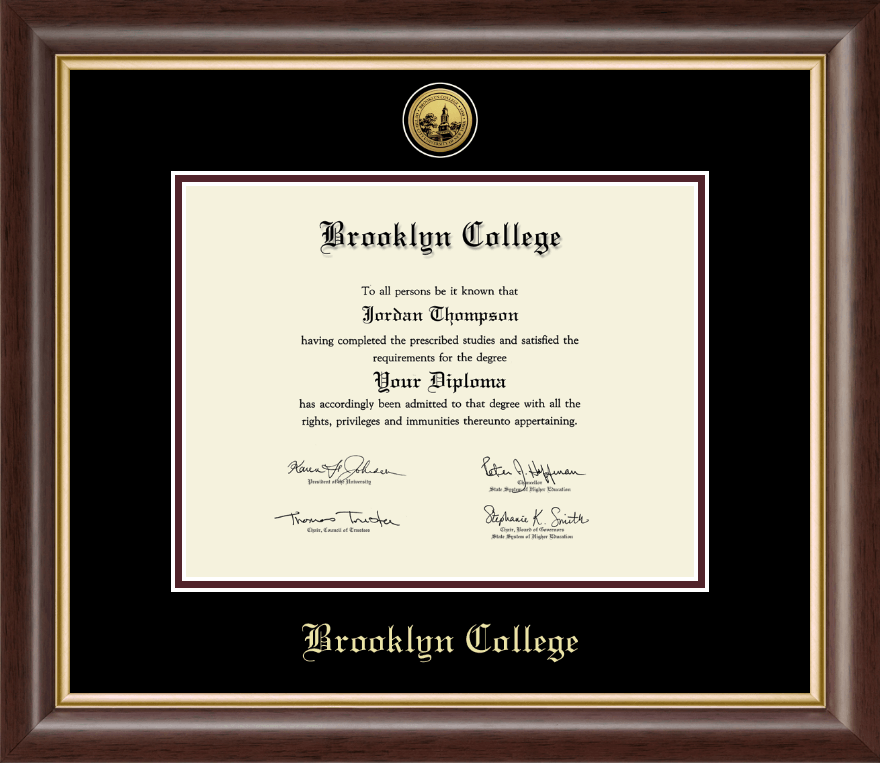 brooklyn college gold engraved medallion diploma frame in hampshire item 245133