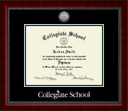 Collegiate School  Diploma Frame - Silver Engraved Medallion Diploma Frame in Sutton