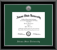 Adams State University  Diploma Frame - Silver Engraved Medallion Diploma Frame in Onyx Silver