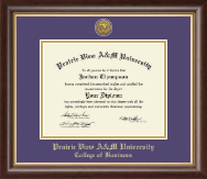 Prairie View A&M University Diploma Frame - Gold Engraved Medallion Diploma Frame in Hampshire