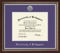 University of Bridgeport Diploma Frame - Silver Engraved Medallion Diploma Frame in Devonshire