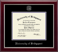 University of Bridgeport Diploma Frame - Silver Embossed Diploma Frame in Gallery Silver