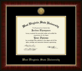 West Virginia State University Diploma Frame - Gold Engraved Medallion Diploma Frame in Murano