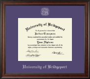 University of Bridgeport Diploma Frame - Silver Embossed Diploma Frame in Studio