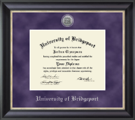 University of Bridgeport Diploma Frame - Silver Engraved Medallion Diploma Frame in Noir
