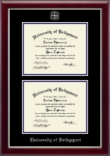 University of Bridgeport Diploma Frame - Double Document Diploma Frame in Gallery Silver
