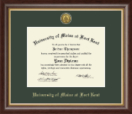 University of Maine Fort Kent Diploma Frame - Gold Engraved Medallion Diploma Frame in Hampshire