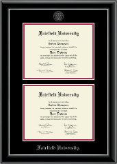 Fairfield University Diploma Frame - Double Document Diploma Frame in Onyx Silver