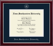 Nova Southeastern University  Diploma Frame - Silver Embossed Diploma Frame in Gallery Silver